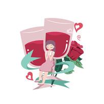 浪漫红酒杯女孩许愿手绘插画