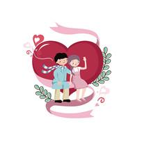 情侣爱心手绘插画