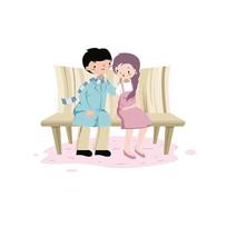 情侣公园长椅依偎手绘插画