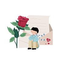 情人节玫瑰手绘插画
