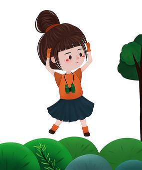 原创可爱卡通探险女生