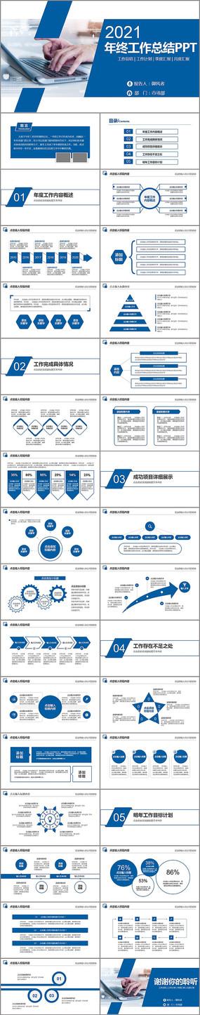 蓝色商务工作总结工作计划年终总结PPT