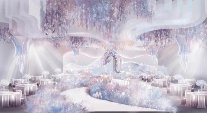 紫色梦幻婚礼舞台背景设计