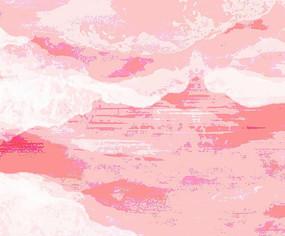 高端大气抽象红色山水背景墙