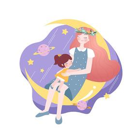 母亲节母女相拥入眠插画