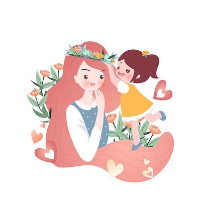 母亲节温馨母女花冠