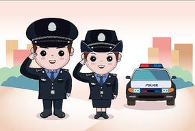 原创插画卡通警察形象男女版
