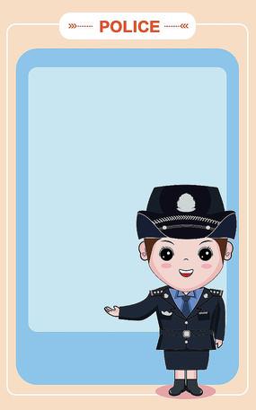 原创插画卡通小警察讲解员小姐姐