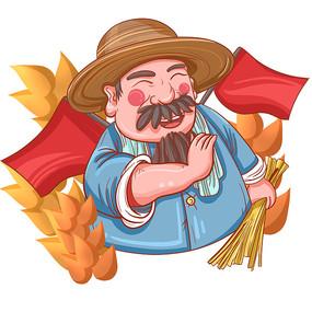 劳动节农民伯伯插画