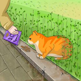 原创流浪猫手绘插画