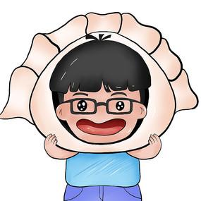 戴饺子发箍男孩插画