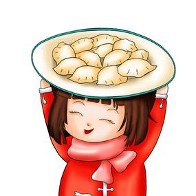 拿饺子的小女孩插画