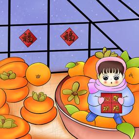 原创柿子插画