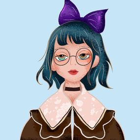 绿头发的蝴蝶女孩插画