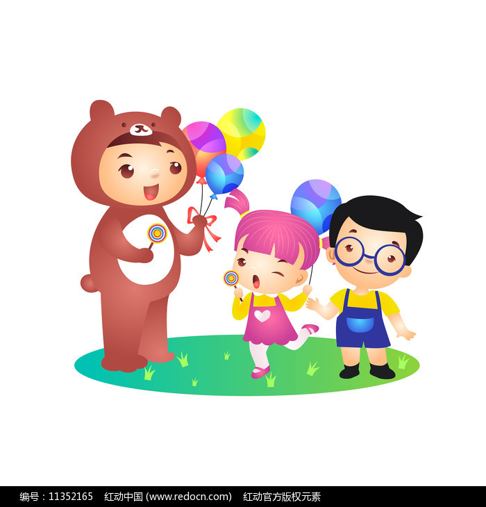 儿童节玩偶熊分发气球插画图片