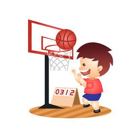 兒童節小男孩打籃球插畫