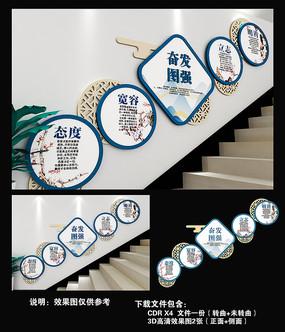 奋发图强校园楼梯文化墙