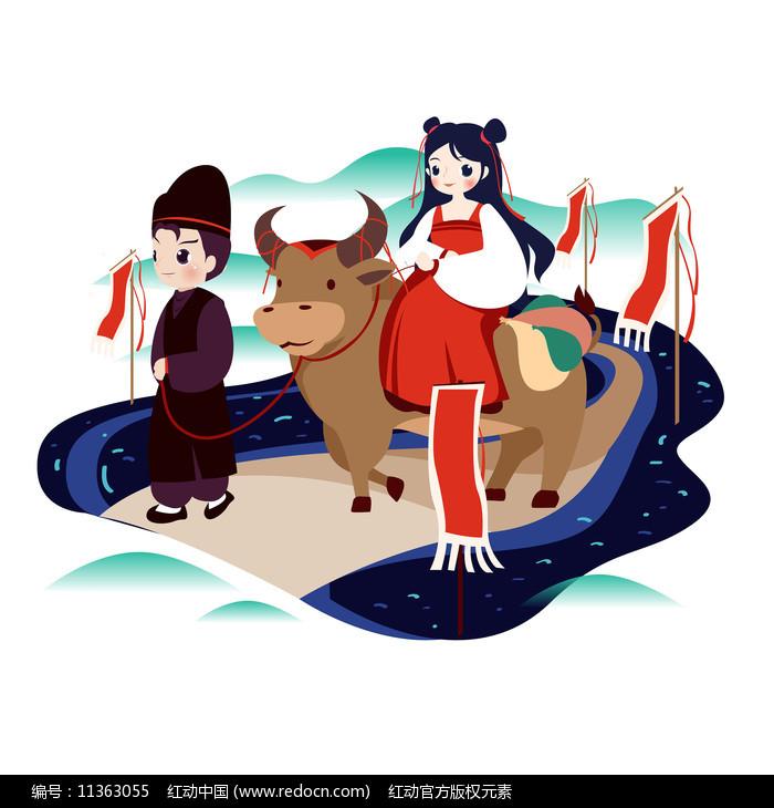 古风男女青牛旅行踏春插画图片