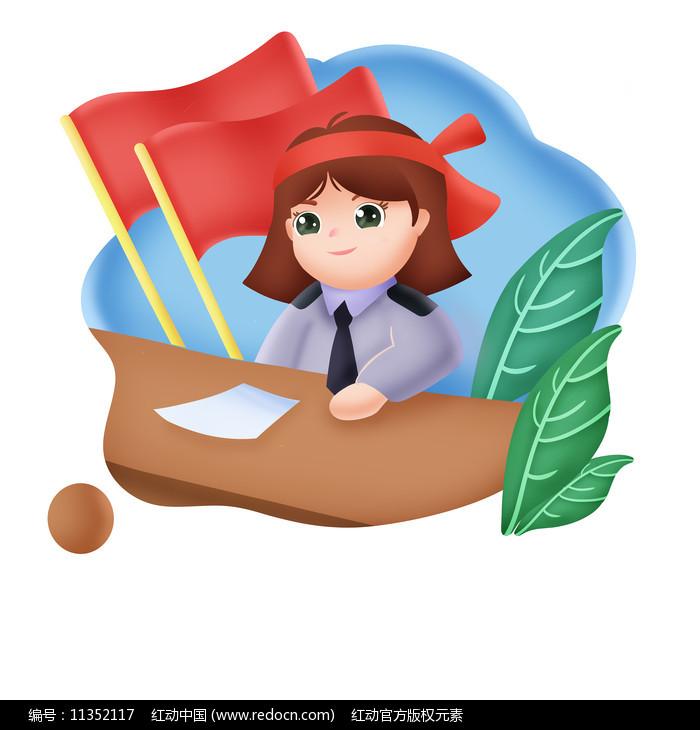 小警察姐姐插画图片