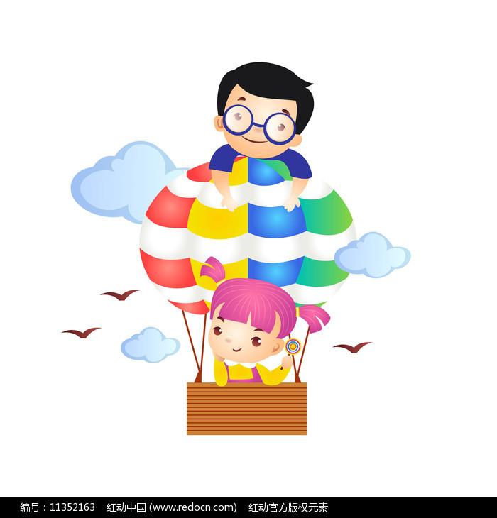小朋友坐热气球插画图片