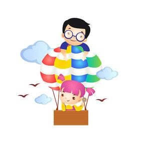 小朋友坐热气球插画