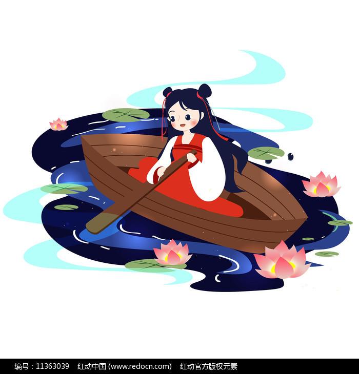 中元节少女泛舟图片