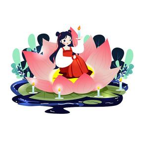 中元节少女坐莲花中插画