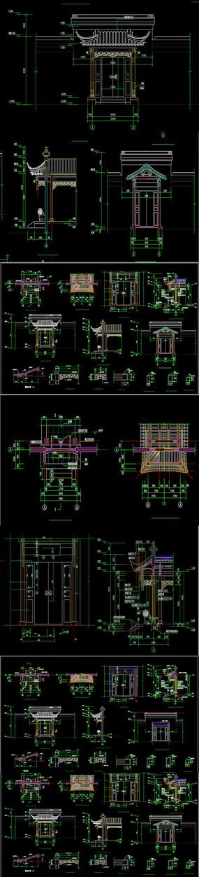 古建垂花门CAD图纸