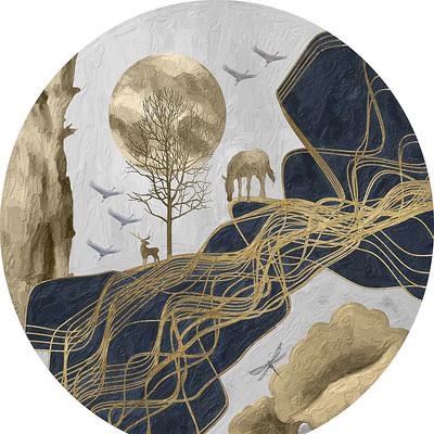 新中式抽象线条山峰骏马圆形装饰画