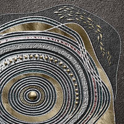 新中式抽象禅意金箔年轮游鱼装饰画