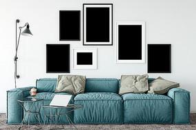 北欧现代简约客厅桌面相框装饰画场景样机
