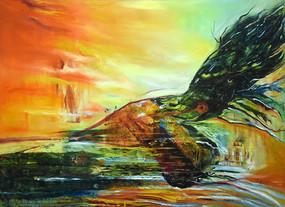 纯手绘高清抽象山水风景油画图