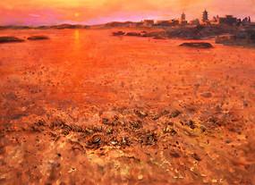 纯手绘高清日出风景油画图