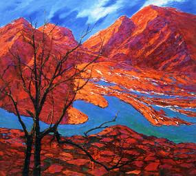 纯手绘鸿运当头风景山水油画