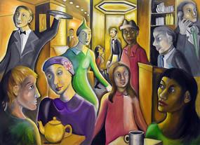 纯手绘欧式咖啡厅人物形象油画图