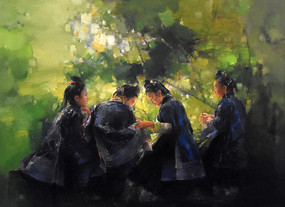 纯手绘中国淳朴少女油画图