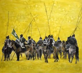 高清手绘蒙古草原牧马油画