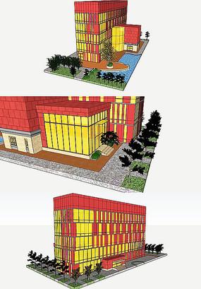 现代艺术楼模型