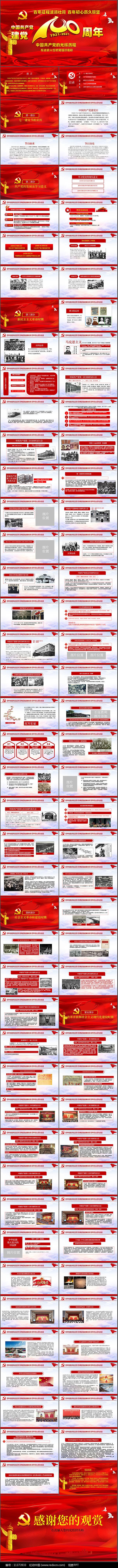 学习党史建党100周年PPT图片