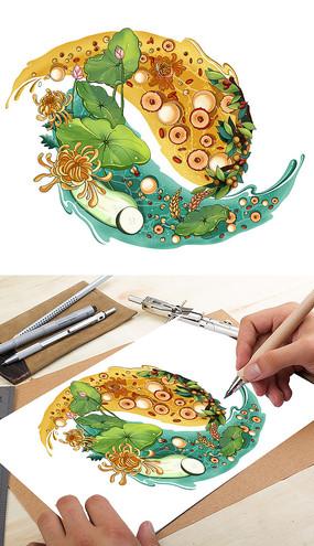 精美水果茶插画设计