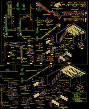 三維木結構樓梯CAD圖庫