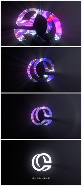 簡約發光科技感片頭Logo模板