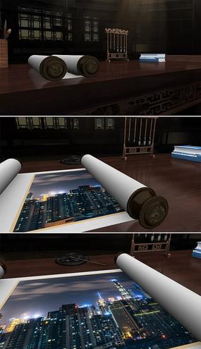 中国风古典卷轴打开动画AE模板