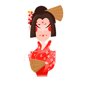 日本艺妓人物插画