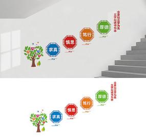 校园楼梯标语宣传墙设计