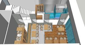 饭店咖啡店SU模型