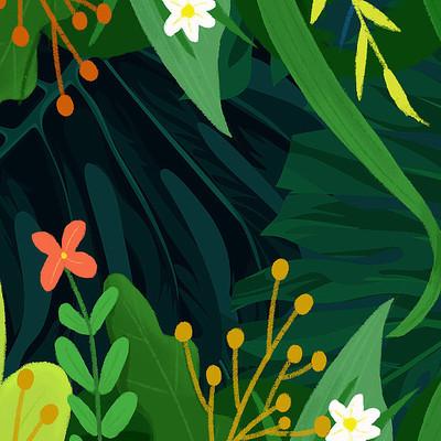 绿色装饰插画植物树叶背景