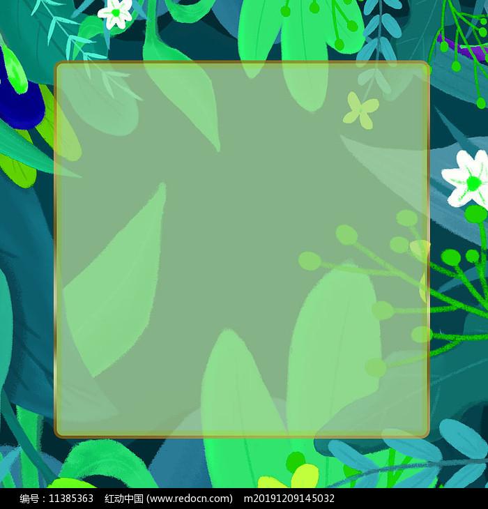 绿色装饰植物树叶边框背景图片
