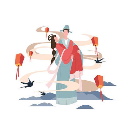 扁平化七夕情侣插画