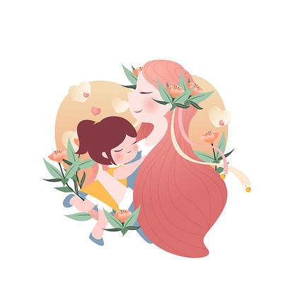 母亲节母女拥抱插画